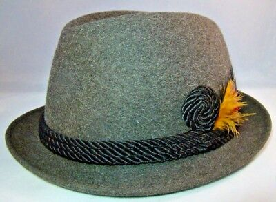 Royal Stetson Mens Hat Dark Gray Rope Band Feather Accent Size 7 Union Made