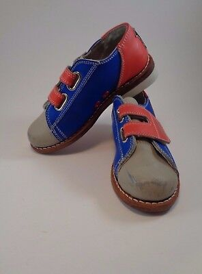 WOLF Boys Girls Red Blue Rental Youth Childrens Bowling Shoes Leather Sole Sz 11