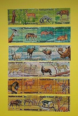 Burundi 1975 African Animals Strips of 4 ( 6 sets ) Used