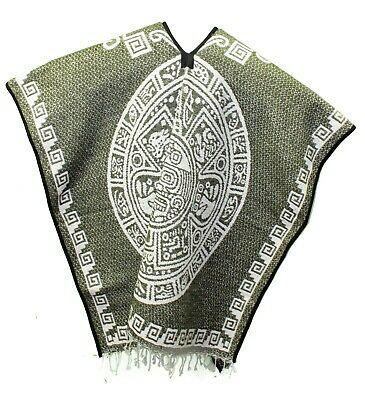 Mexican PONCHO HEAVY BLANKET - Tribal 10 OLIVE GREEN - ONE SIZE FITS ALL Gaban