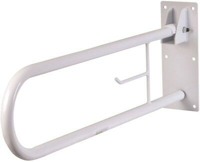 HealthSmart Fold-Away Grab Bar, White, Steel, Disability Mobility Fixtures New