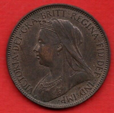 Queen Victoria 1900 Veiled Head Halfpenny Coin. Lovely Condition Half Penny.