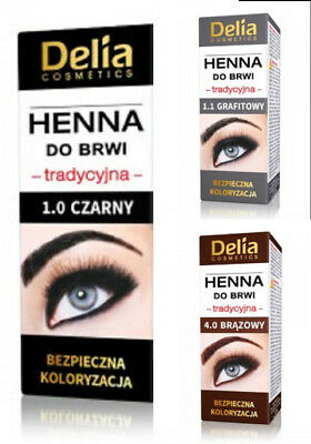 Delia Cosmetics Henna Traditional Eyebrow Tint Colour Brown Grey Black 2ml NEW