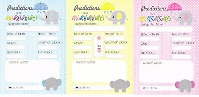 Baby Shower Prediction Cards Elephant Theme A6 size/postcard