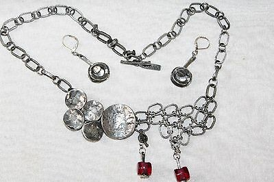 Signed ANNE MARIE CHAGNON Modernist PEWTER Statement Necklace & Earrings set