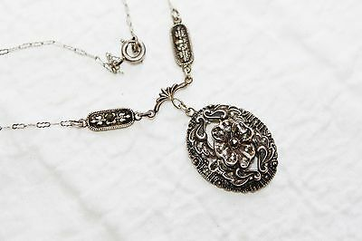 VICTORIAN Art Deco STERLING Silver MARCASITE Necklace
