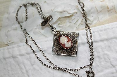 Old EDWARDIAN 800 SILVER Carved Shell CAMEO Hand Spun FILIGREE Pendant Necklace