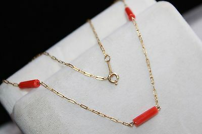 ART DECO Vintage GOLD FILLED Salmon CORAL Chain Necklace