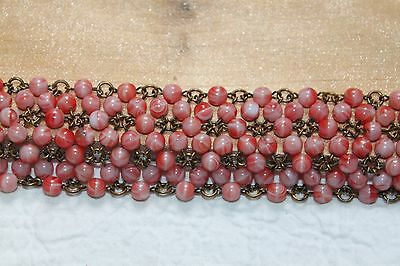 Wide French ART DECO Pink Marble Glass Bead Chain Bracelet