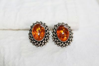 Vintage STERLING Silver BALTIC AMBER Cabochon EARRINGS
