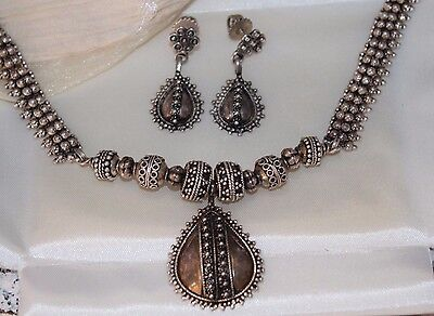 RARE 55g Etruscan STERLING Silver NECKLACE & Screw Back Dangle EARRINGS Set