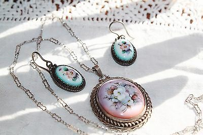 "Vintage STERLING Silver ""Forget me Not"" PAINTED PORCELAIN Necklace Earrings SET"
