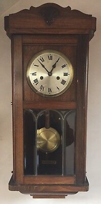 "HAC German Glazed Oak Case Striking Wall Clock GWO 27""L13""W 6""D"
