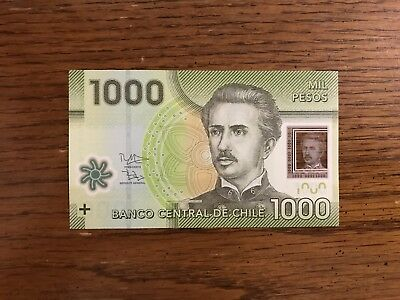 1000 Pesos CHILE, POLYMER Banknote 2014 World Money, Foreign Currency -CRISPY.