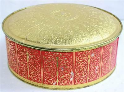 Guildcraft New York USA Round Metal Tin Red Gold Container Fruitcake Gift W/ Lid