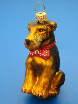 Airedale Terrier Dog European Blown Glass Christmas Tree Ornament Decoration