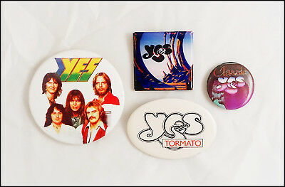 Yes Lot Of 4 70's 80's Buttons Pins / Tormato Tour Pin / Steve Hpwe