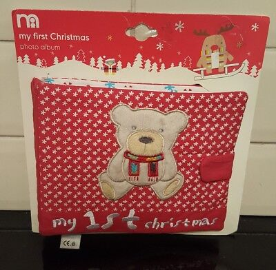 Mothercare my 1st christmas fabric memory photo album book new