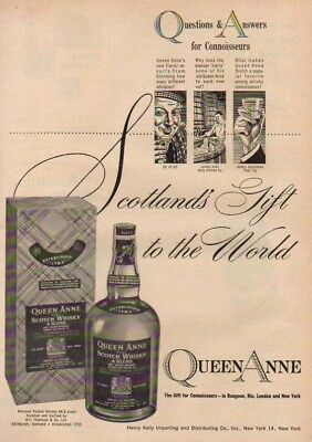 1952 Queen Anne Scotch Whisky~Whiskey Bottle~Box 50s Ad MMXV