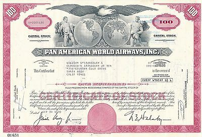 Pan American World Airways Aktie USA Fluglinie Luftfahrt Transport Pan Am 1970