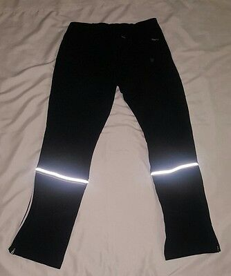 Nike FitDry Pants Women's Black Striped Reflective Running Track Workout Medium