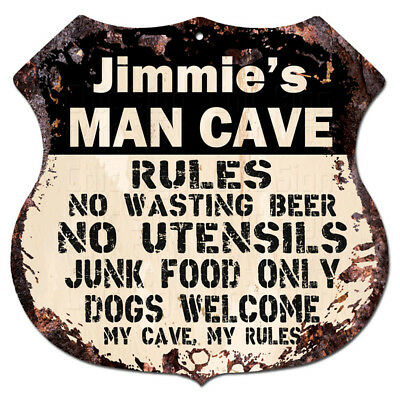 BPMR0260 JIMMIE'S MAN CAVE RULES Rustic Tin Shield Sign Funny Decor Gift