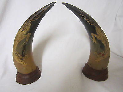 Vintage Hand Carved ANIMAL HORN Antique Asian DRAGON Japanese? Chinese?
