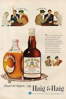 1950 Haig & Haig Five Star Scotch Whiskey Pinch Whisky 50s Illustrated Print Ad