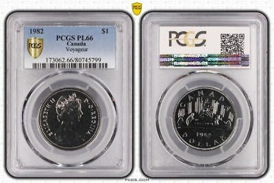1982 Pl66 Canada One Dollar $1 Voyageur Pcgs Graded Proof Like Gem Unc