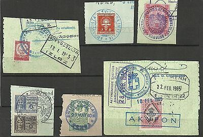 small Lot of Old Consular Stamps on cut outs