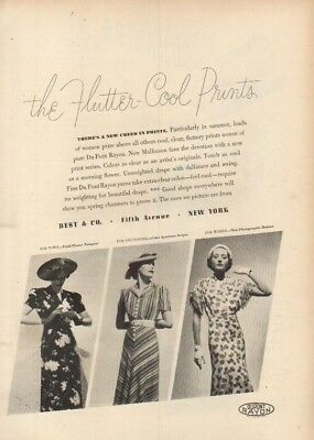 1937 Best & Co New York Vintage 30s Womens Dresses Fashion~Magazine Fashion Ad