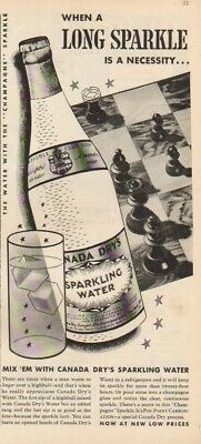 1937 Canada Dry Sparkling Water Club Soda~Chess Board/Game~Long Sparkle 30s Ad