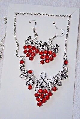 vintage style jewelry set Red crystal grape vine necklace earrings silver tone
