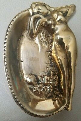 vintage NUDE WOMAN ART METAL  DRESSER TRAY or PIPE /ASHTRAY