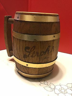Vintage Strohs Beer Wood Barrel Mug Stein Barware Collectible