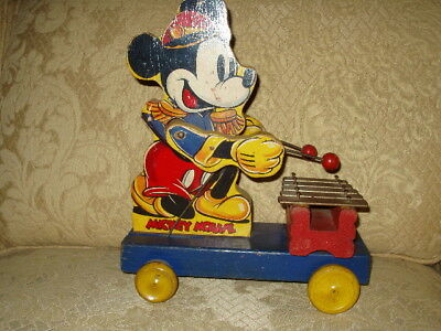 1930s Fisher Price Lot Walt Disney Mickey Mouse Donald Duck Train Race Car Toys