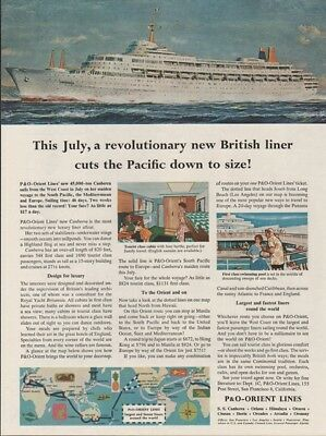 1961 P&O Orient Lines Canberra Cruise Ship~Tourist Cabin~Swimming Pool print Ad