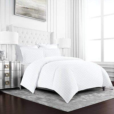 Duvet Cover 3 Piece Hotel Collection Luxury Soft Diamond PatternedFull / Queen