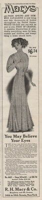 1909 Macy's Department Store New York NY Princess Dress Women's Clothing Ad