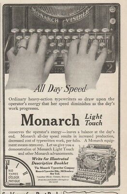 1909 Monarch Typewriter Company New York NY Light Touch typing All Day Speed ad