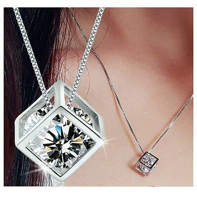 Heart Women's 925 Sterling Silver Chain Crystal Rhinestone Pendant Necklace