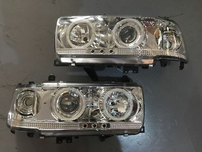 Angel Eye Projector Headlights LED CLEAR to suit Toyota Landcruiser 80 Series