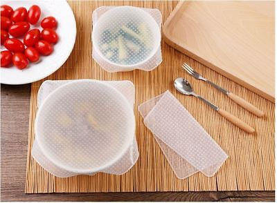 Set of 4 Reusable Clear Silicone Food Fresh Keeping Wrap Stretch Seal Film Cover