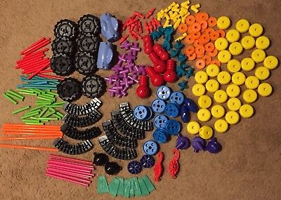 Lot Tinkertoy Construction Plastic Tinker Toys Wheels Hooks Builders 230+ Pieces