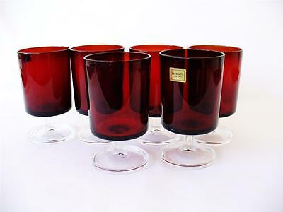Vintage  Set Of Six French - Ruby  Wine Glasses