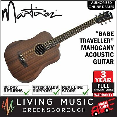 NEW Martinez Babe Traveller Mahogany Mini Acoustic Travel Guitar (Natural Satin)