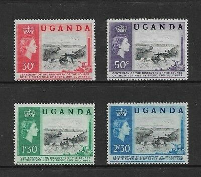 UGANDA - mint 1962 Centenary of Discovery of Source of River Nile, set of 4, MLH