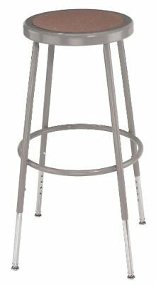 "National Public Seating 6224H Steel Stool with Hardboard Seat Adjustable 25""-..."