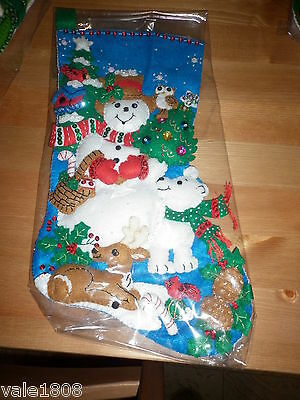Bucilla Completed Christmas Stocking Snowman & Bear 36 cm