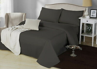 1000TC CVC Cotton Double Bed 4 Pieces Sheet Set Fitted Flat 5 Colours Easy Care